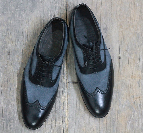 Handmade Men Black & Gray Wing Tip Leather Suede Oxford Shoes