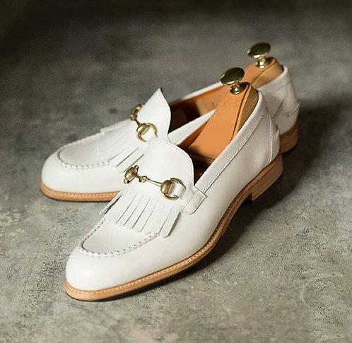 Oxford Slip On White Fringe Leather Loafers