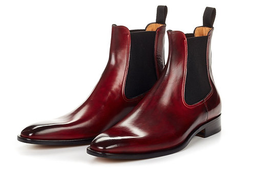 Burgundy Patent Pure Leather Ankle High Chelsea Boot
