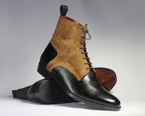 Handmade Men's Black & Brown Leather Suede Ankle boots