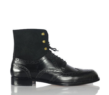 Handmade Men's Iron Ranger Leather Boots in Black Color