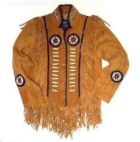 Mens Suede Leather Jacket Western Wear Cowboy Coat Fringe Bead, Bones Work