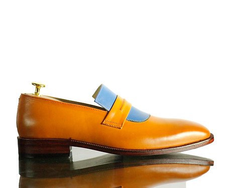Tan Bespoke Men's Slip On Leather Shoes