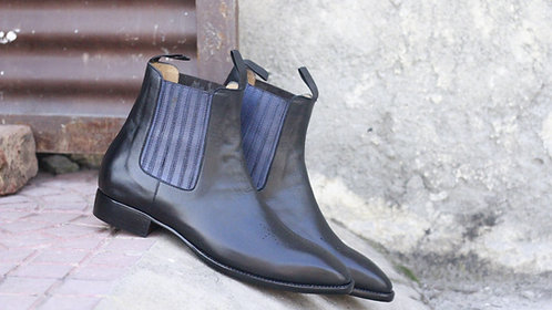 Ankle High Black Handmade Chelsea Leather Boot