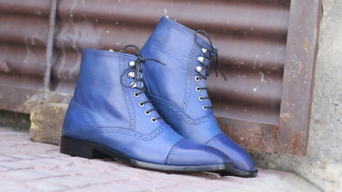 Oxford Blue Cap Toe Lace Up Leather Boot