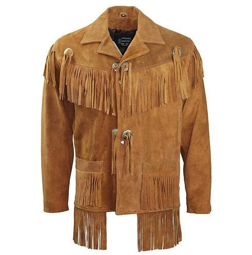 Men Cowboy Genuine Suede Western Jacket, Cowboy Leather Jacket With Fringe