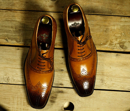 Bespoke Tan Oxford Wing Tip Leather Shoes, Men dress Designer Shoes