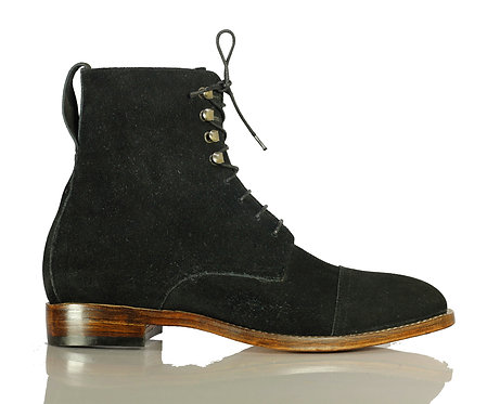 Men's Handmade Black Suede Leather Boots