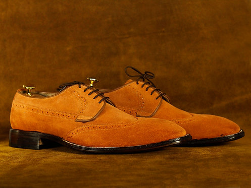 Tan Suede Wing Tip Lace Up Brogue Leather Shoes