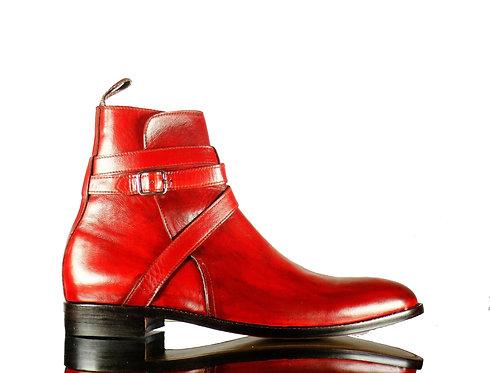 Men's Bespoke Burgundy Jodhpurs Boots Leather ankle boot