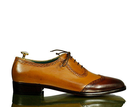 New All leather Men Oxford Shoes Brown Wing tip Shoes