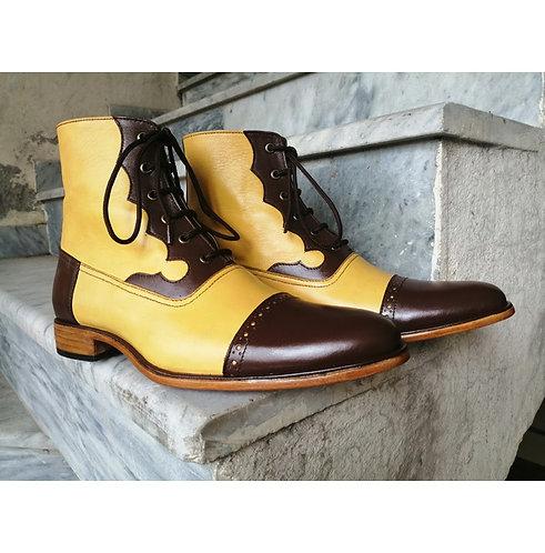 Men Brown Yellow Ankle Cap Toe Boots, Handmade Retro Elegant Dress Boot