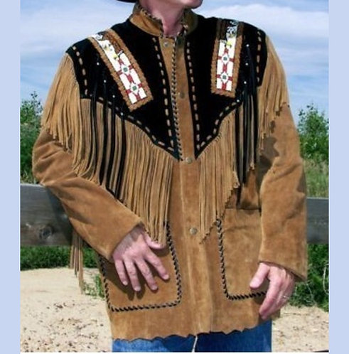 Men Western Fringe Jackets, Tan Fashion Jacket