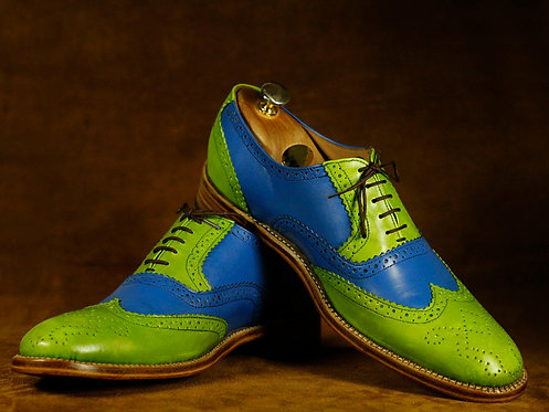 Handmade Blue & Green Wing Tip Oxford Leather Oxford Shoes