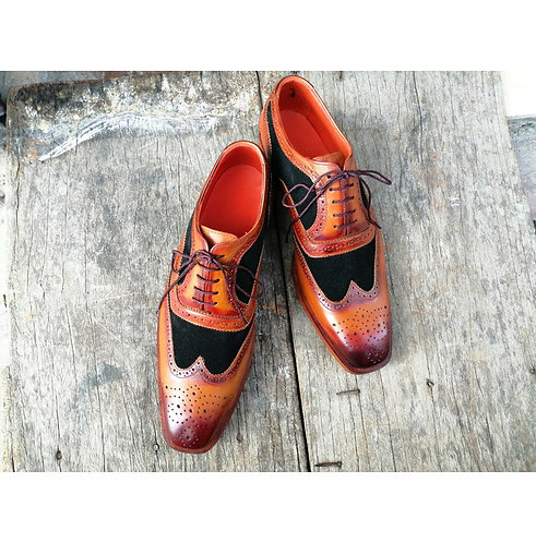 Mens Brown Black Wing Tip Leather Suede Shoes Handmade Stylish Oxford Shoes