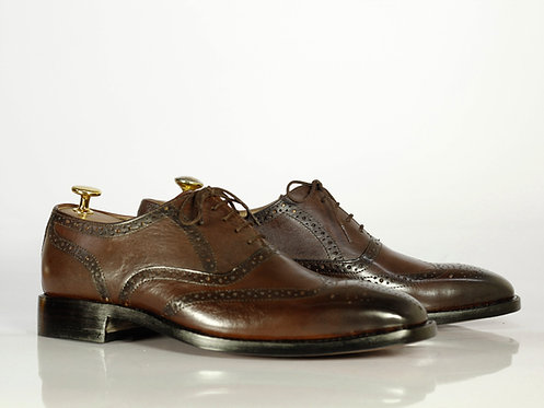 Leather Lace Up Brown Brogue Men's Shoes