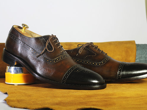 Two Tone Oxford Cap Toe Brogue Lace Up Shoes