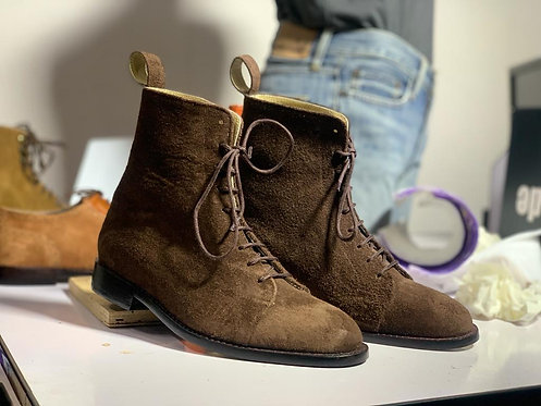 Pure Brown Suede Lace Up Leather Boot