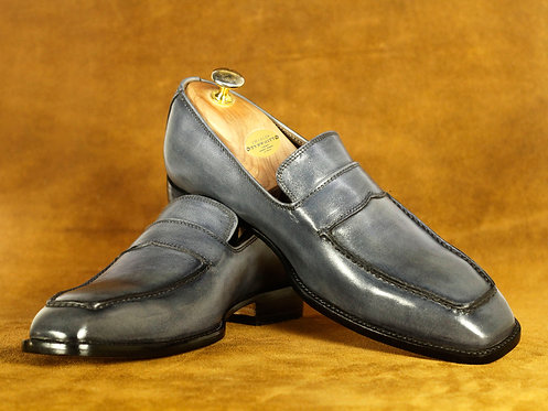 Handmade Men's Penny Gray Leather Loafers Shoes