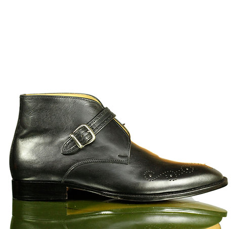 Handmade Men Black Monk Leather Buckle Shoes