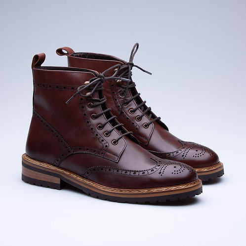 Bespoke Cordovan Men's  Lace Up Wing Tip Ankle Boot