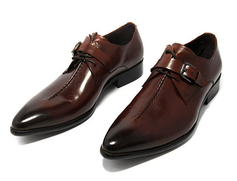 Men's Handmade Brown Leather Belted Shoes
