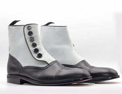 Two Tone Ankle High Gray Black Leather Suede Button Top Boot