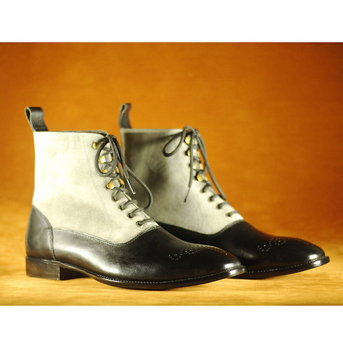 Men Black & White Leather & Suede Boots, Dress Designer Party Wear Boots