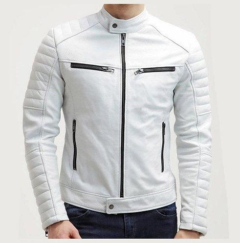Men White Color Slim Fit Leather Jacket, Mens Fashion Jacket, Jackets