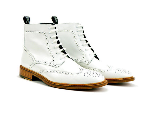 Men's Wing Tip Ankle Leather Boot White Boot