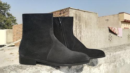 Handmade Black Men Ankle Side Zipper Madrid Straps Dress Suede Boot