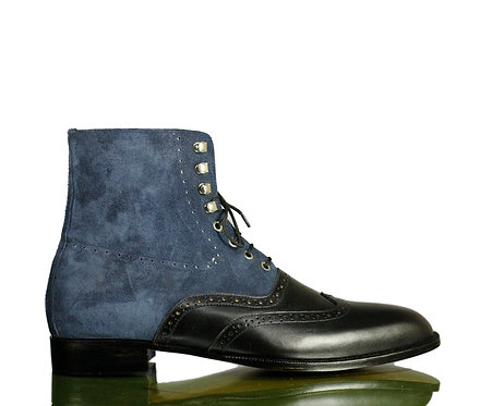 Handmade Men's Iron Ranger Leather Two Tone Boots in Black Blue Suede