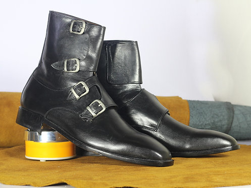 Oxford Hand Crafted Black Monk Leather Boot