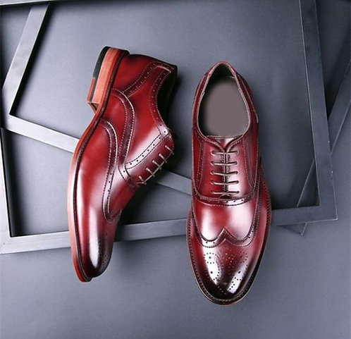 Burgundy Lace Up Brogue Leather Shoes