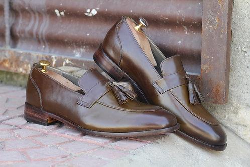 Round Toe Tasseled Cordovan Leather Slip On Shoes