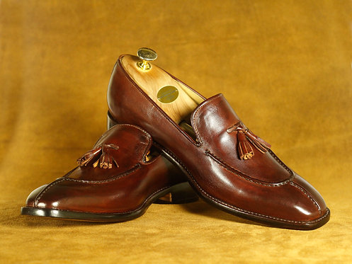 Bespoke Men Split Toe Brown Tussles Loafers Oxford Leather Shoes