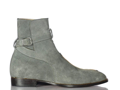 Men's Gray Jodhpurs suede Leather Boots Buckle Designer Boots