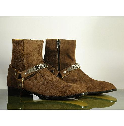 Men's Brown Ankle Suede Boots, Bespoke Madrid Straps Designer Fashion Boot