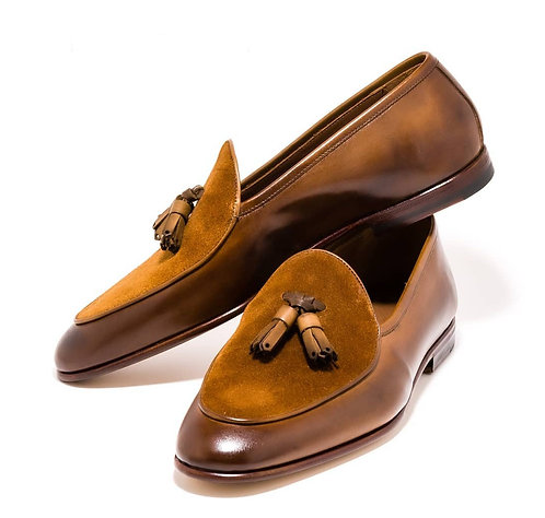 Tasseled Tan Round Toe Leather Suede Loafer Shoes