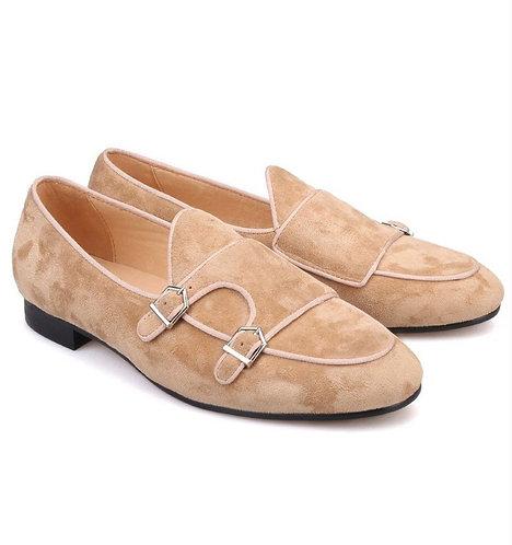 Handmade Men's Beige Double Monk Straps Suede Shoes