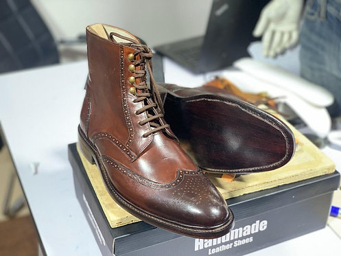 Ankle High Wing Tip Brown Lace Up Leather Boot