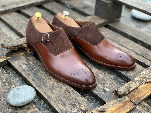 Side Monk Brogue Burgundy Leather Suede Shoes