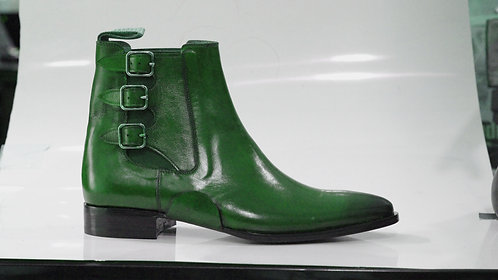 Handmade Green Men Ankle Double Buckle Dress Leather Boot