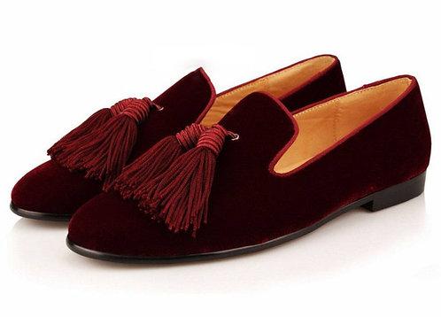 Handmade Men's Burgundy Tussles Oxfords Party shoes, Men Velvet Dress Shoes