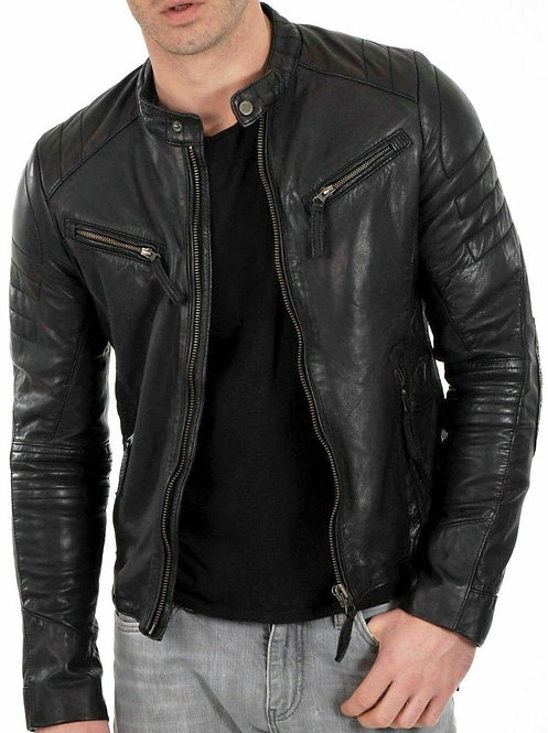 New Men's Genuine Distressed Lambskin Leather Jacket Black Slim fit Biker jacket