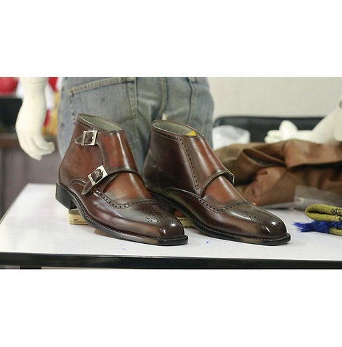 Men's Brown Double Buckle Boots, Bespoke Two Ton Dress Designer Ankle Boots