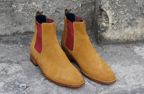 Stylish Ankle High Tan Chelsea Leather Suede Boot