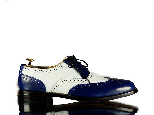 Blue White Handmade Men Wing Tip Oxford Leather Shoes
