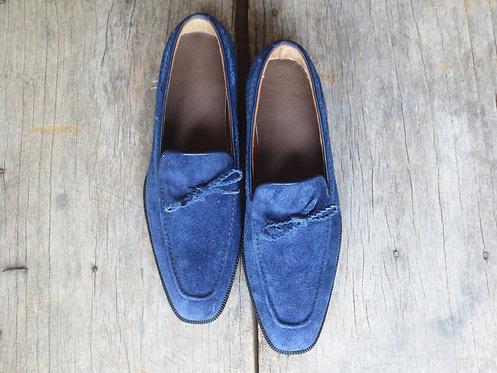 Handmade Men's Slip on Slippers Blue Suede Dress Shoes