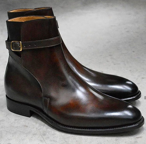 Buckle Strap Jodhpurs Ankle High Cordovan Leather Boot